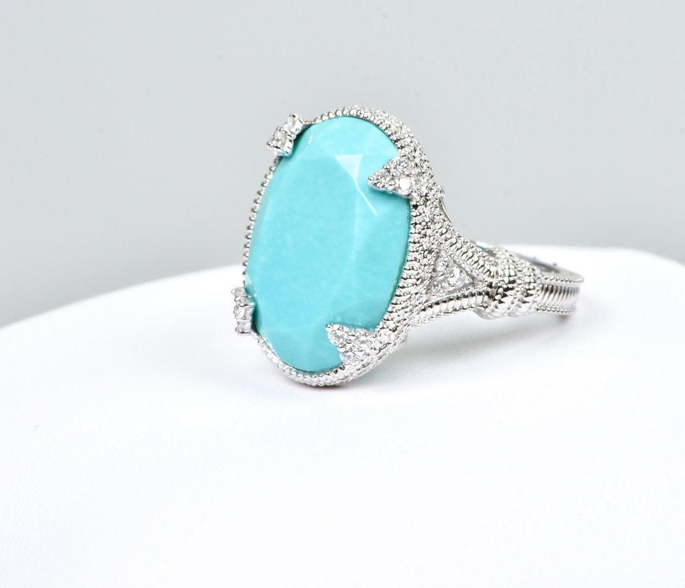 Judith Ripka Monaco 18k White Gold Turquoise Ring Carmen Emilia