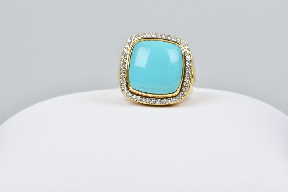 Estate David Yurman 18k Yellow Gold Turquoise Diamond Albion Ring