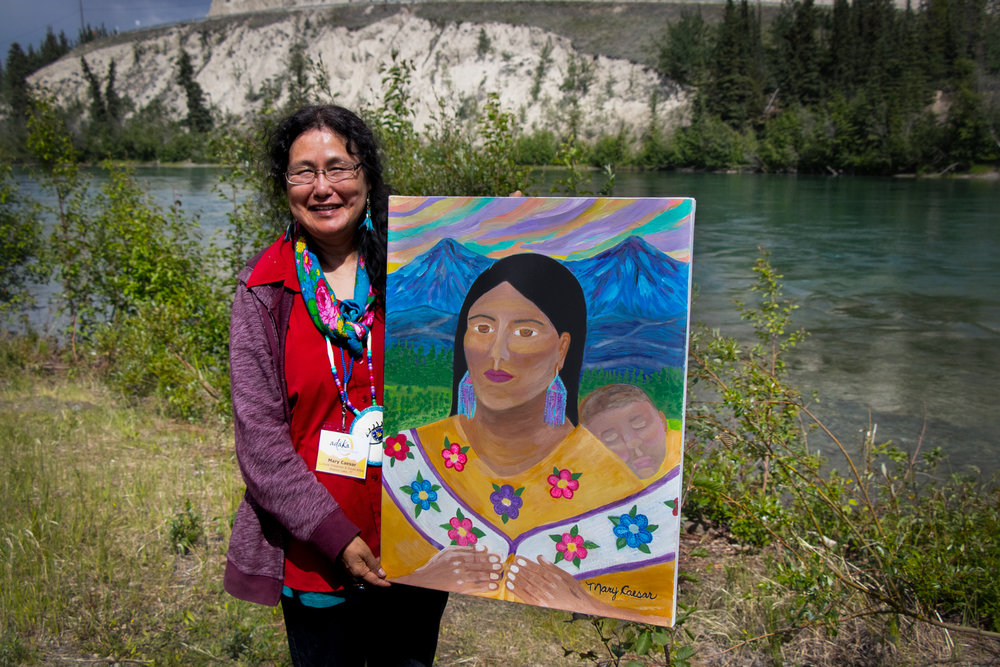 Caesar is happy to have shared her art at the Adäka Cultural Festival. While the festival can be a bit physically draining, she says her family keeps her motivated. Her son David and his family came to visit all the way from Ontario.