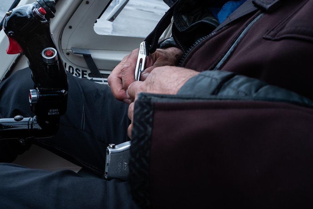 Washington buckles up before a water surveying flight.