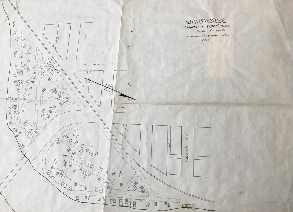 Assessment map of Whiskey Flats Whitehorse, YT, in 1957. Accessed through Yukon Archives.