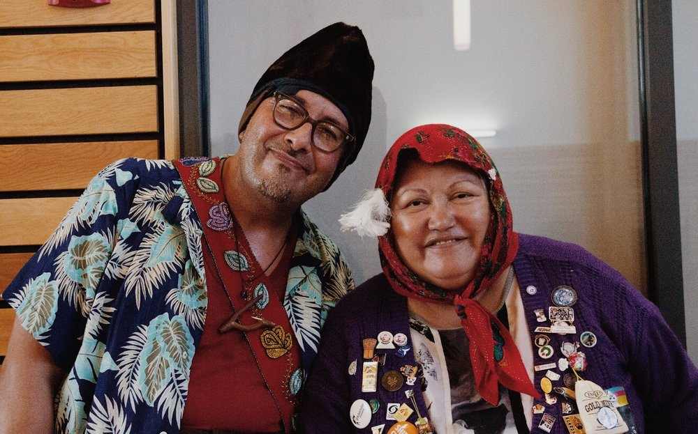 Cash Creek Charlie and Gramma Susie in costume after their comedy act in Carcross.