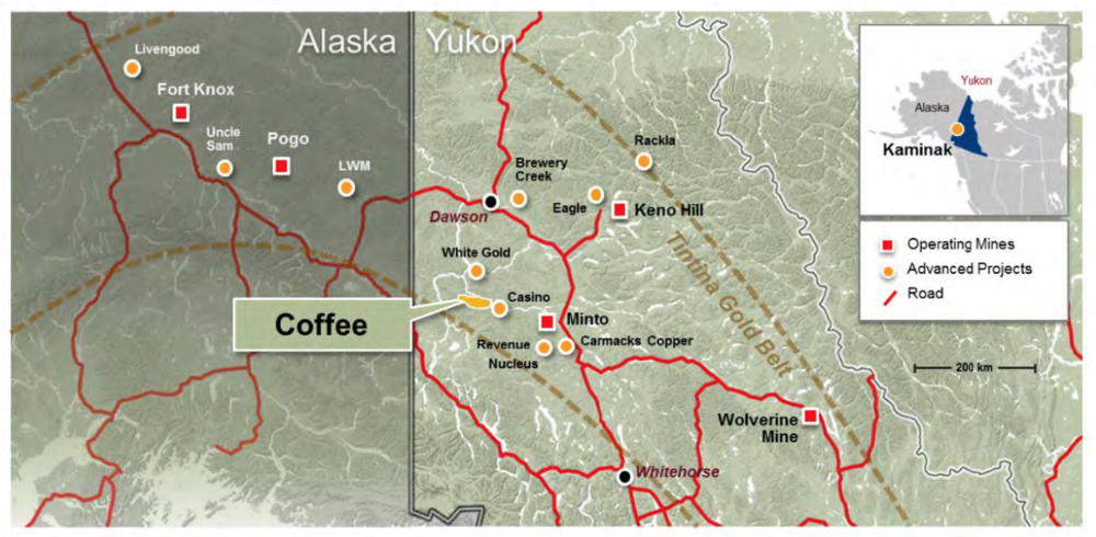 Goldcorp's Coffee mine is located 130 km south of Dawson City, verging on the traditional territory of four Yukon First Nations.