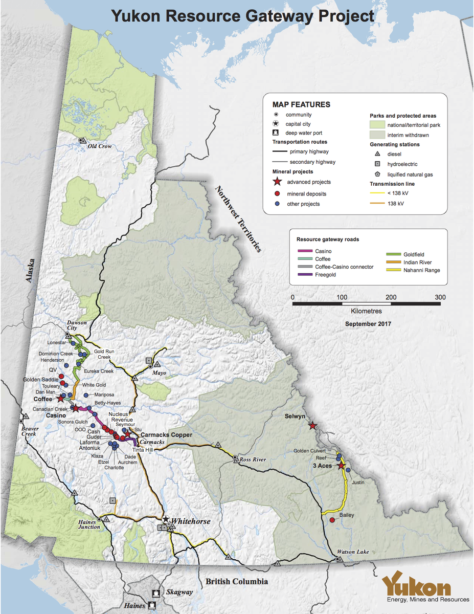 The Yukon Resource Gateway Project will see roads built to several mining sites in the territory including Coffee, although the mine is still pending YESAB approval. Image provided by Yukon Energy, Mines and Resources