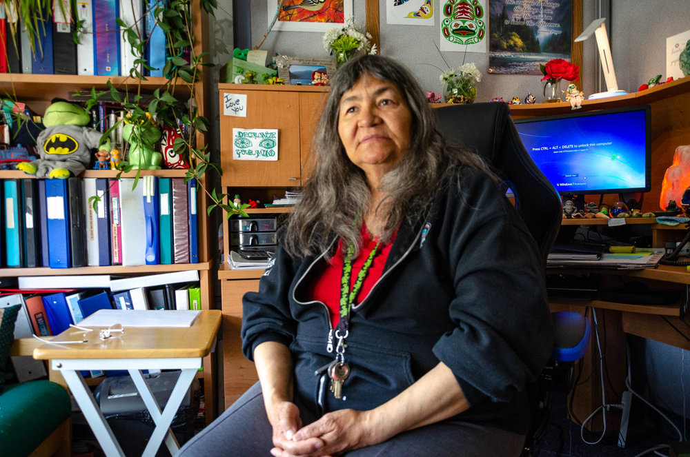 Eileen Wally works as a support worker for the Carcross/Tagish First Nation, and is also the cousin of Karrie's mother Mary Ann.