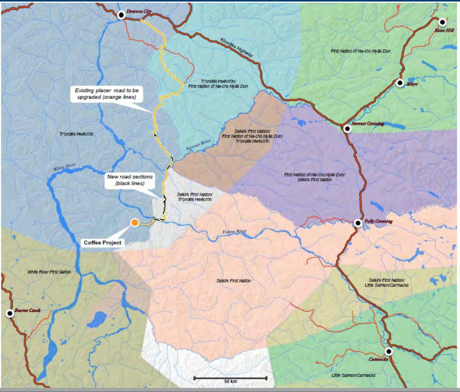 Map shows the First Nations' traditional territories surrounding the Coffee Gold mine project. Image provided by Goldcorp