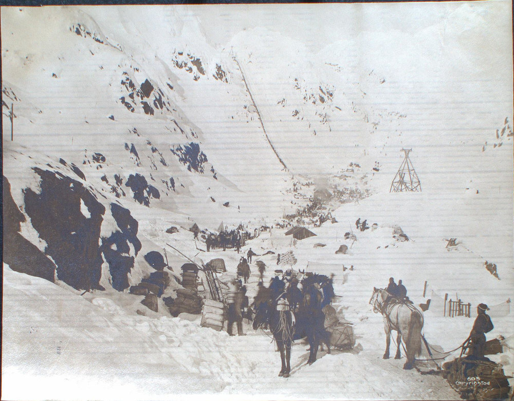 Prospectors prepare to ascend the Chilkoot Pass in spring of 1898. Photo by H.J. Goetzman. Courtesy of Yukon Archives, Butler family fonds, 2013/57 #10