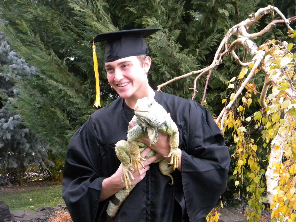 Graduation Day 2011 with Scooter the iguana.