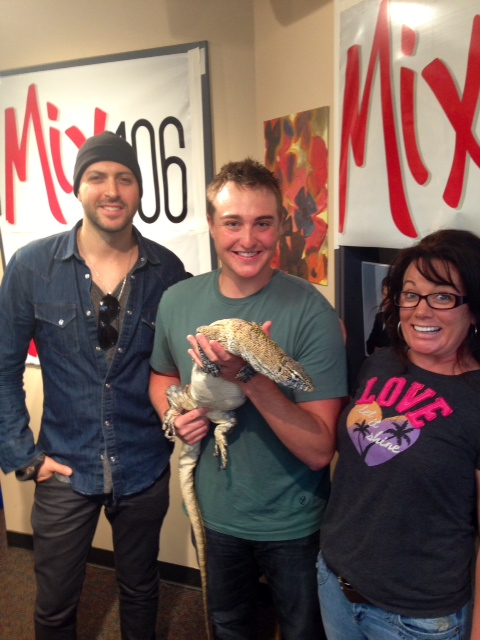 Picture with musician Ryan Star, Junior the Nile Monitor, and Kate McGwire.