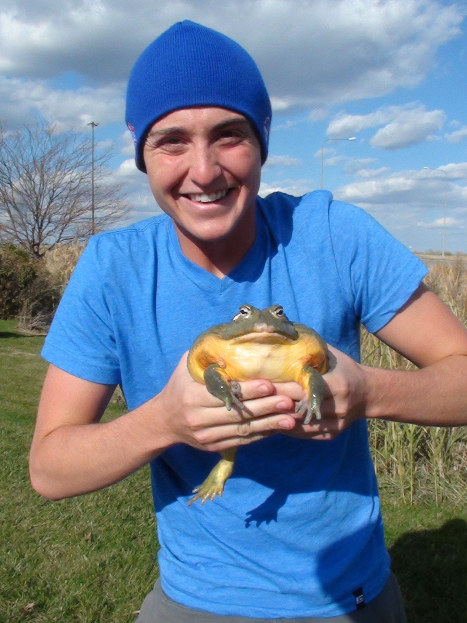 Holding Diesel the African Bull Frog.