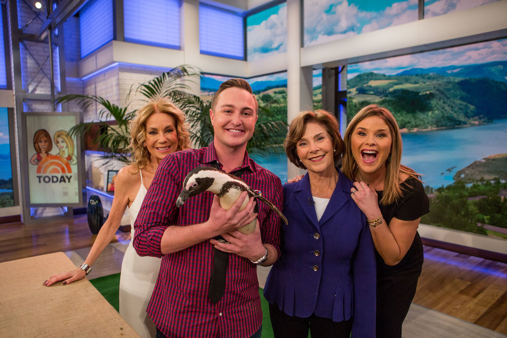 "On the set of ""The Today Show"" with Kathie Lee Gifford, Laura Bush, Jenna Bush Hager, and Aurora the African Penguin."