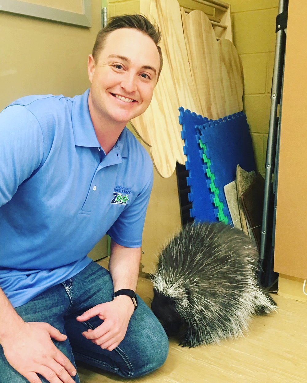 "Me and ""Quilliam"" the North American Porcupine from The Turtle Back Zoo."