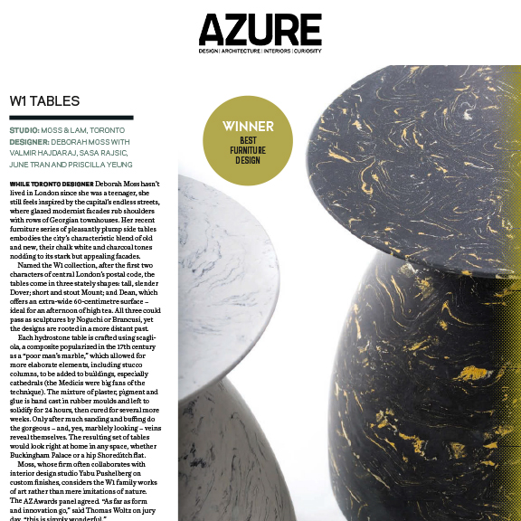 Azure - AZ Awards - July/August 2016Winner of Best Furniture Design