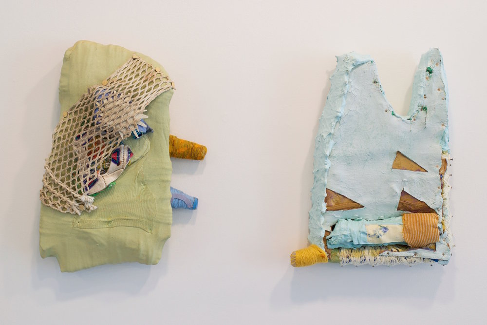 "Jamey Hart, ""Rainbow"", 2016 Mixed Media 18x12x5 inches. (left) ""Greeze that Hurts"", 2016, Mixed Media 16x12 3 inches (right)"