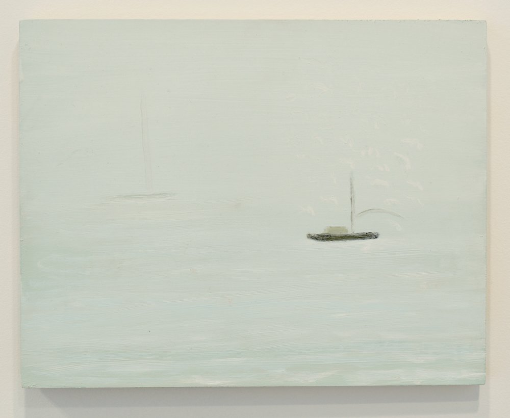 "Kathryn  Lynch, ""Boat Out to Sea"", 2015. Oil on board, 11 x 14 in. Courtesy Sears-Peyton Gallery"