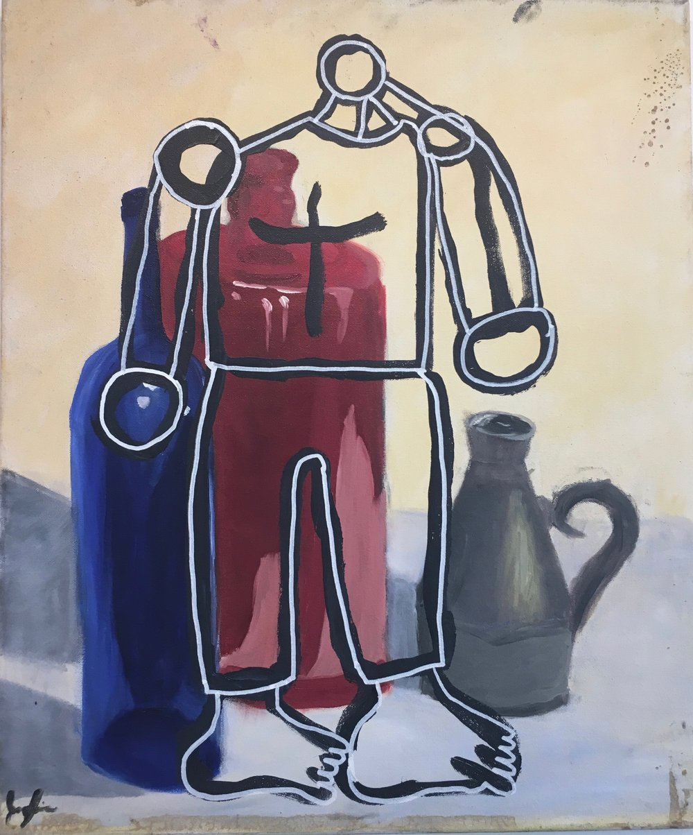 "Andrew Tarlow, ""Morandi With Robot"", 2017. Acrylic on canvas, 24x20 in."
