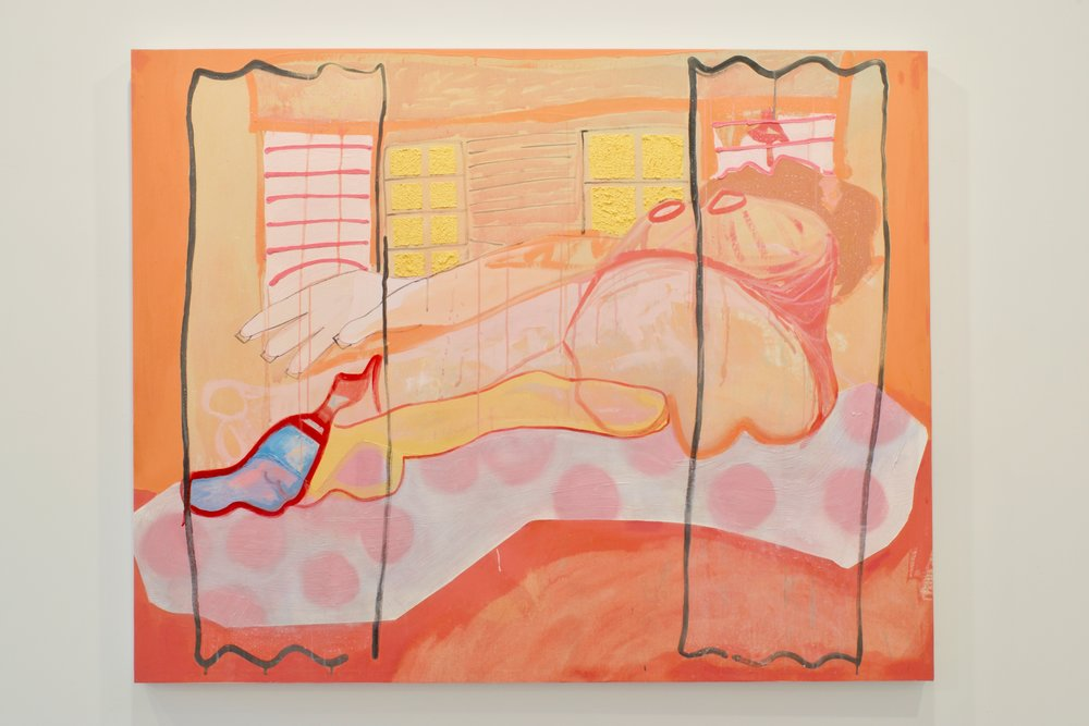 "Libby Rosa, ""Hey Mami I Know What You Want Mami"", 2015. Oil, acrylic, spray paint, roller shade fabric. 49x70 in."