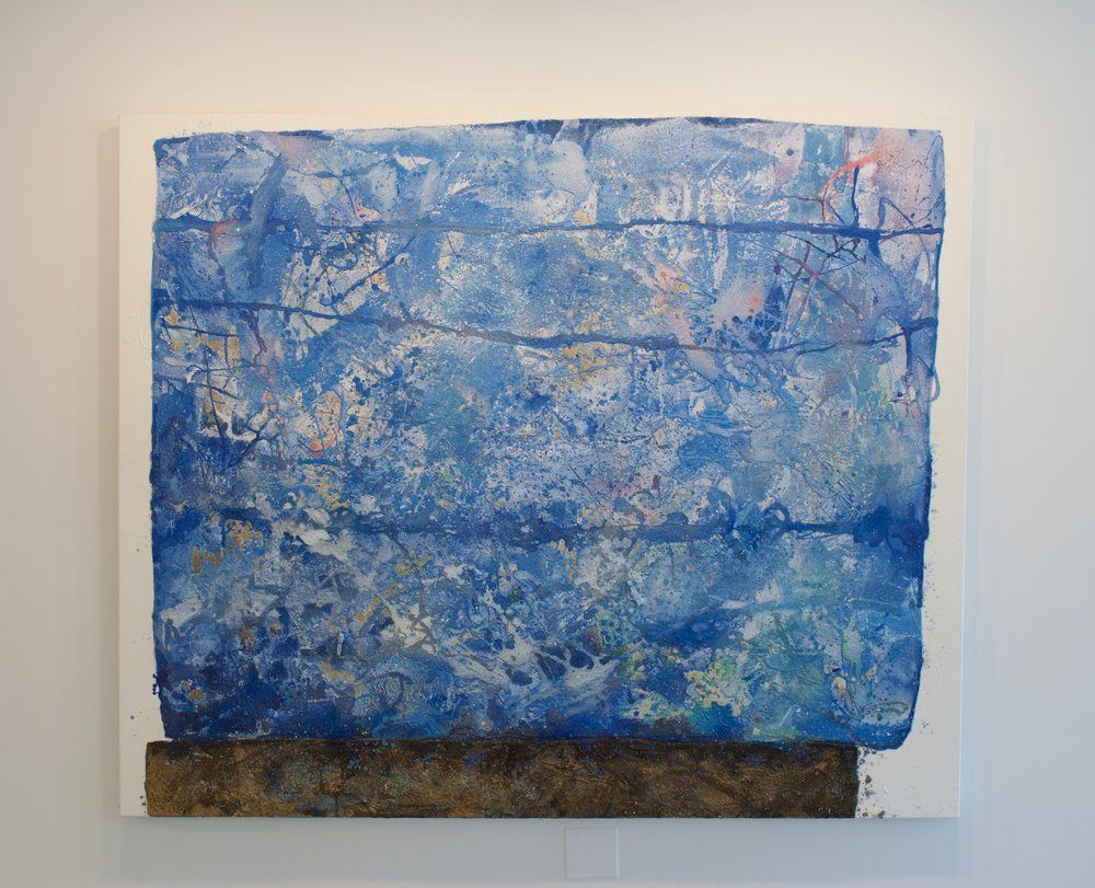Mark Van Wagner, Blue Drifter, 2016. Sand debris polymers gesso on canvas, 60x72 in.