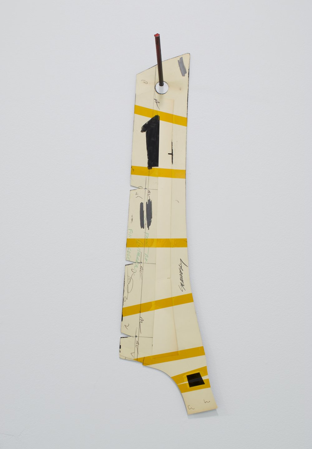 "Nick DePirro, ""Seriously"", 2015. Altered found object, graphite, charcoal, kapton tape, steel and nylon pin. 22x8 in."