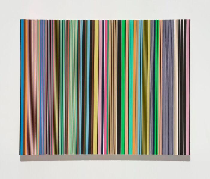 "Daniel Bruttig, ""Western Bongo""' 2018. Lanyards, gesso on panel. 16x20 in."