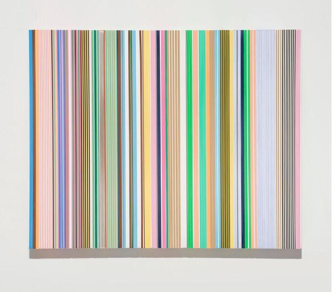"Daniel Bruttig, ""Eastern Bongo"", 2018. Lanyards, acrylic on panel. 16x20 in."