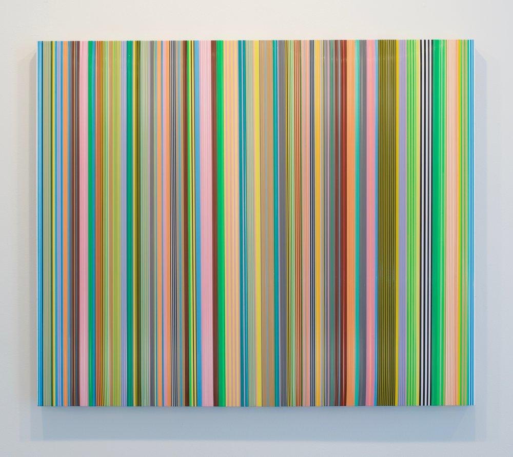 """Daniel Bruttig, """"Sunny Horizon"""", 2017. Lenyards on panel, 30 x 36 inches"""