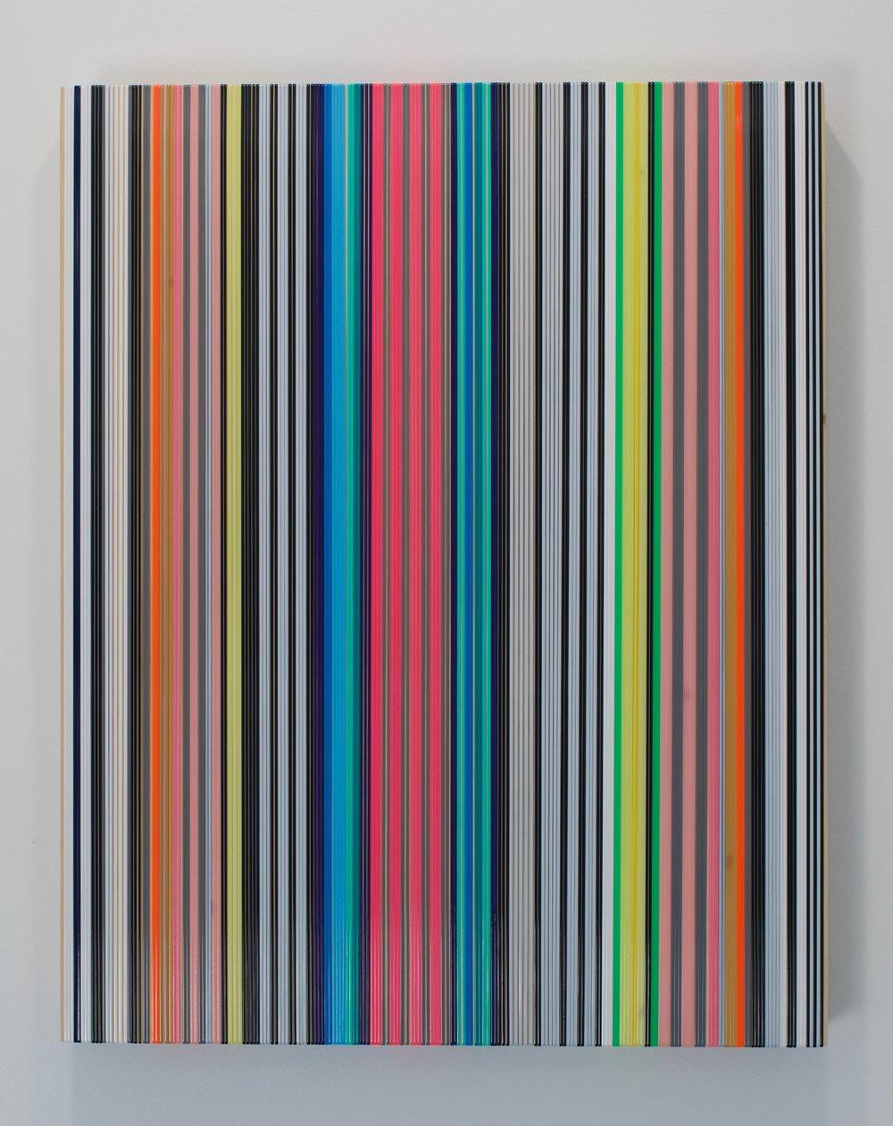 "Daniel Bruttig, ""Las Rayas"", 2017. Lanyards on panel. 24x18 in."