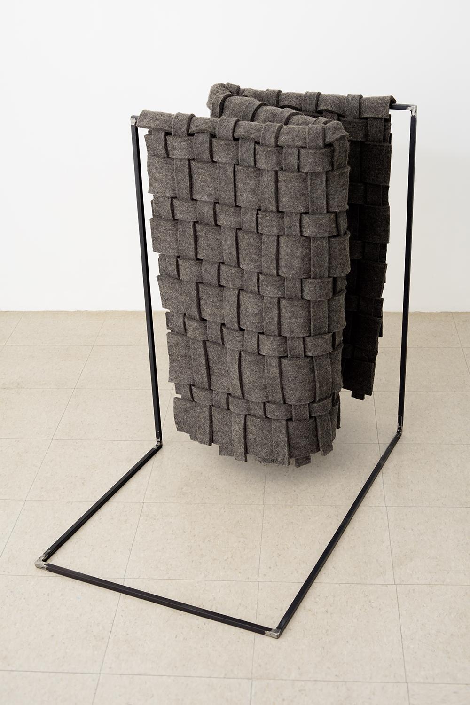"Laura Kaufman, ""Standing Fold"", 2016. Felt, steel, glue. 37x37x21 in."