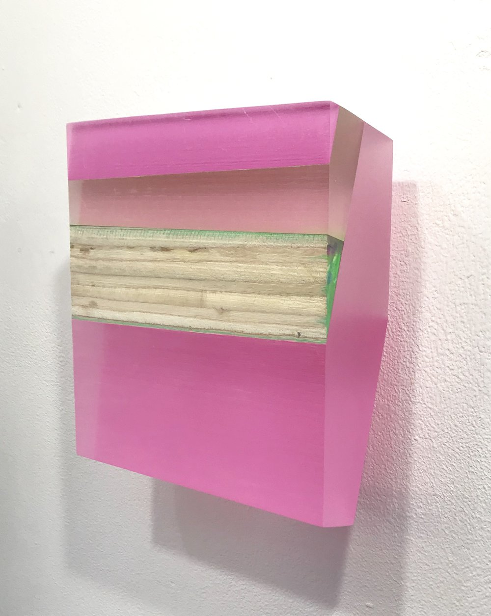"Michelle Benoit, ""Sky brick series"", 2018. Mixed media on lucite and apple ply. 6.25x6.625 in."