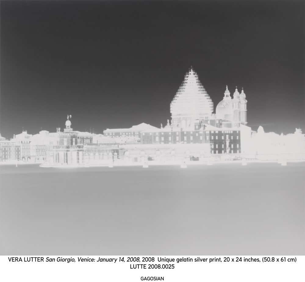 Vera Lutter, San Giorgio, Venice: January 14, 2008, 2008 Unique gelatin silver print. 20 x 24 inches. LUTTE 2008.0025 / VL2008.013SM © Vera Lutter. Photo by Rob McKeever. Courtesy Gagosian