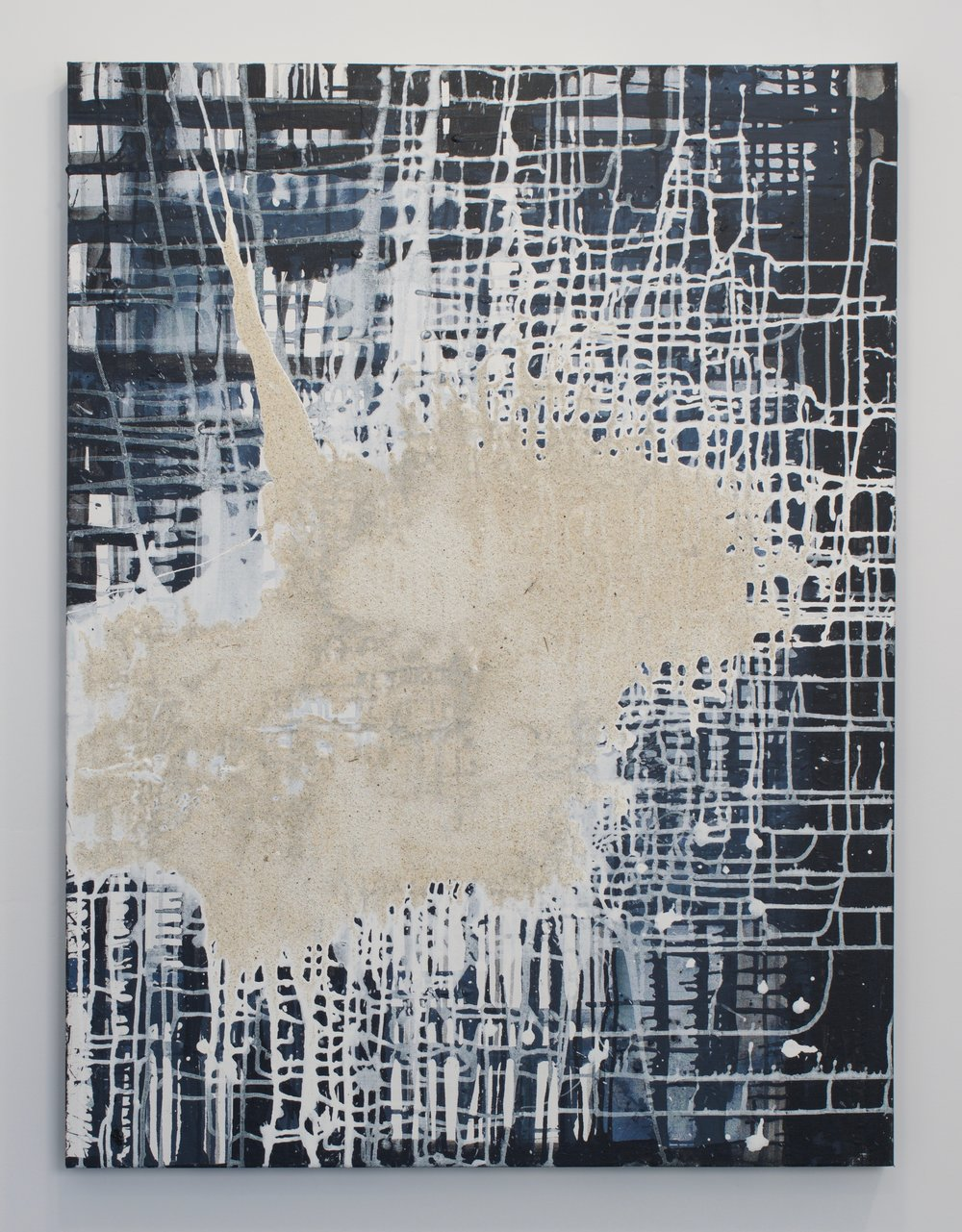 """City"", 2012. Acrylic and sand on canvas, 40 x 30 in."