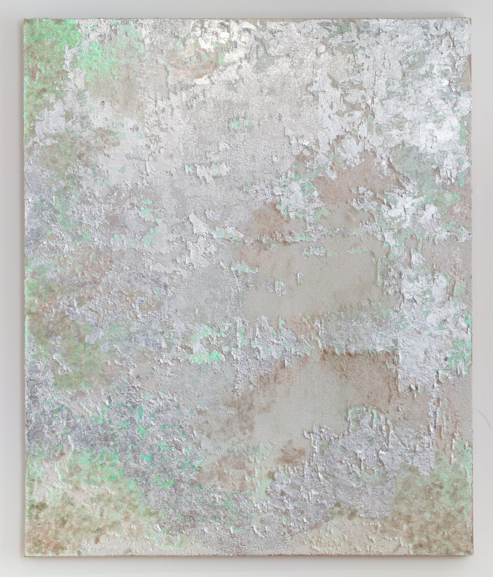 Ghost, 2018. Mica, glass beads, glitter, silver leaf, and pigment on sequins fabric. 72 x 60