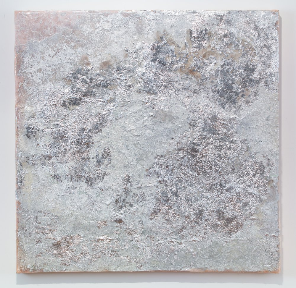 Moon, 2017-2018. Silver leaf, mica, glass beads, and pigment on silk. 36x36 in.