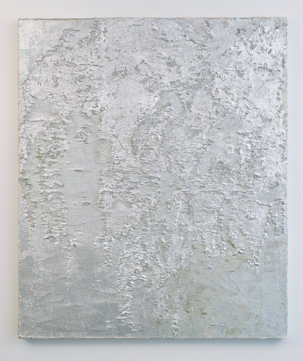 Erasure, 2018. Glass beads and silver leaf on sequins fabric. 50x42 in.