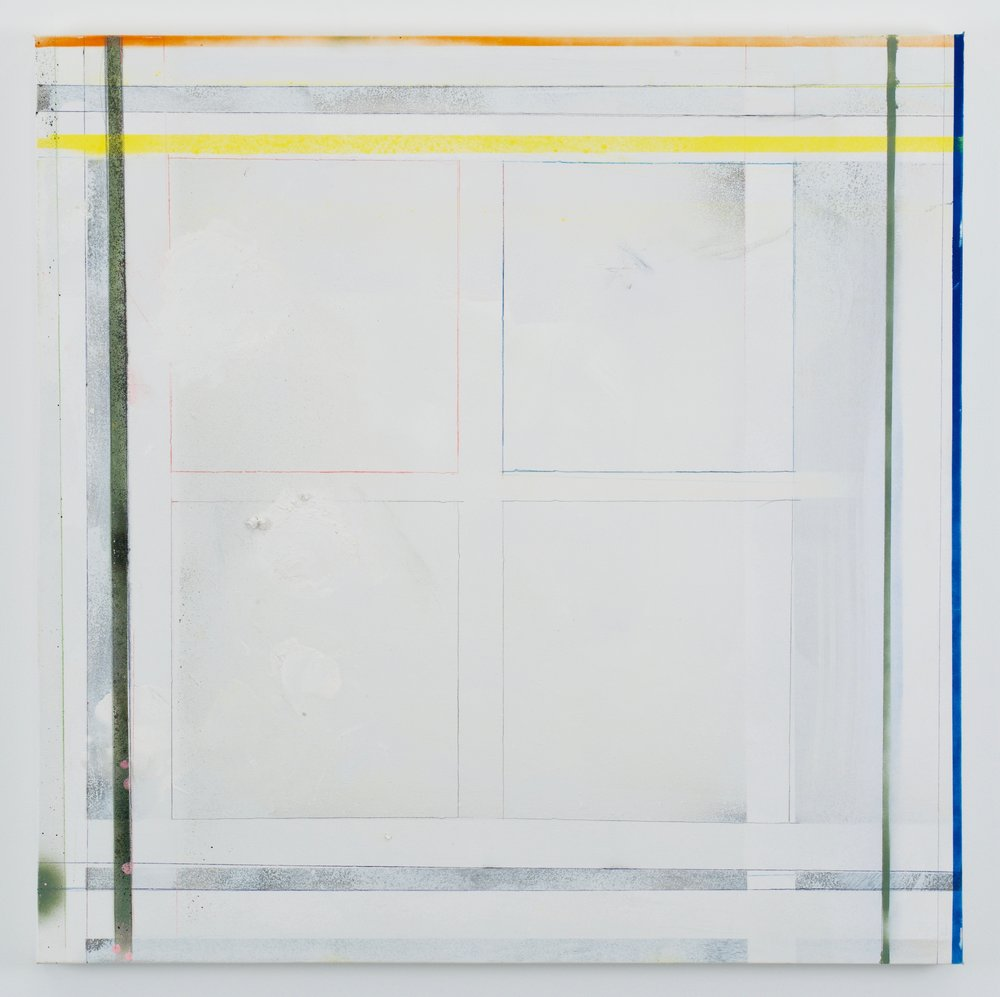 Larry Wolhandler, Liminal, 2018. Oil, acrylic, pen, pencil on canvas. 36x36 in.