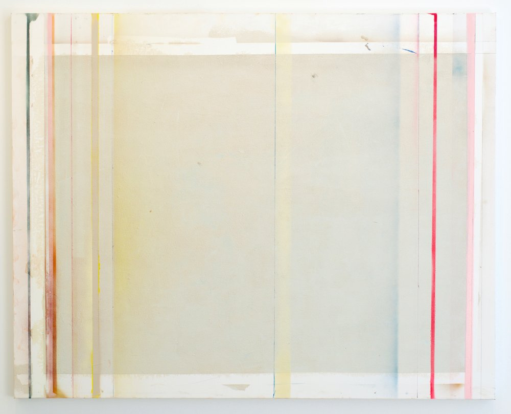 Larry Wolhandler, Line Plunge, 2018. Oil, acrylic, pen, pencil on canvas. 48x60 in.