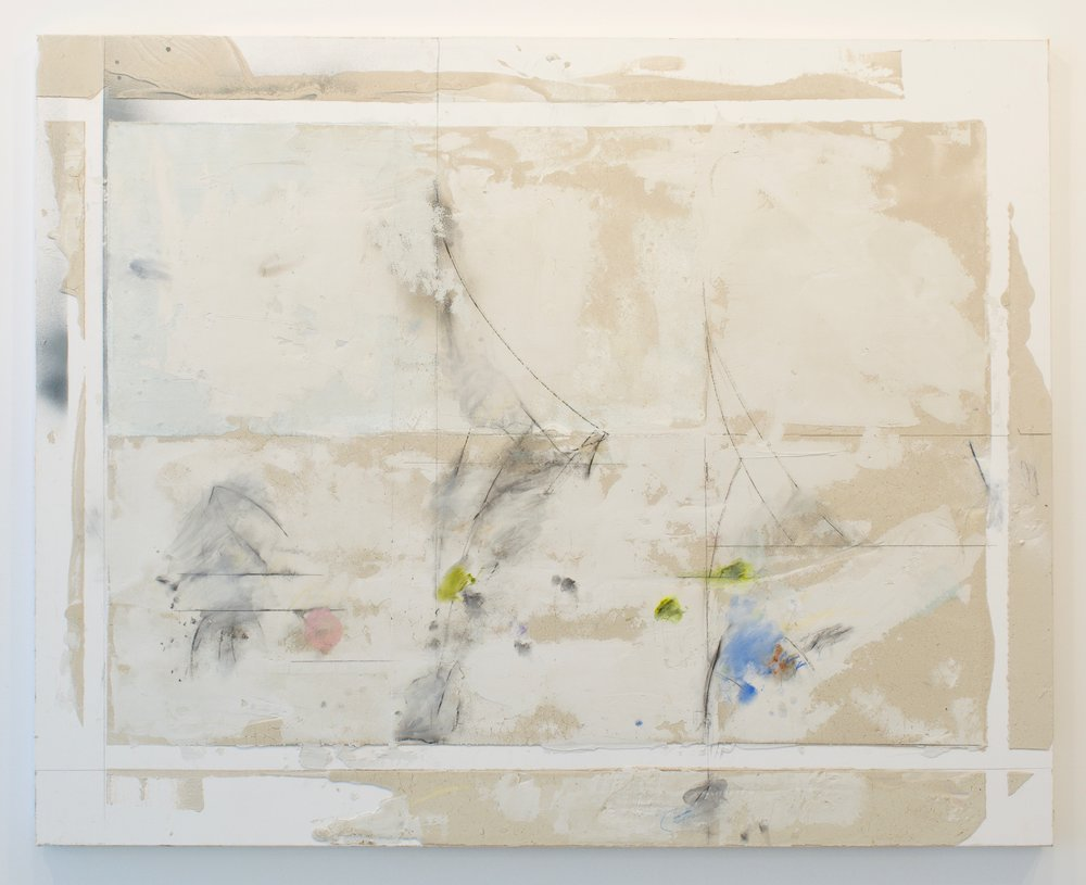 Larry Wolhandler, Nantucket, 2018. Oil, acrylic, pen, pencil on canvas. 48x60 in.