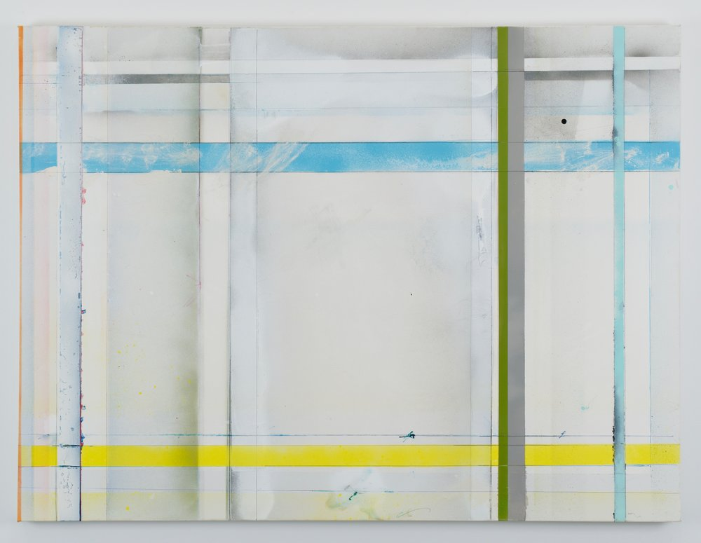 Larry Wolhandler, The Circling, 2018. Oil, acrylic, pen, pencil on canvas. 36x48 in.