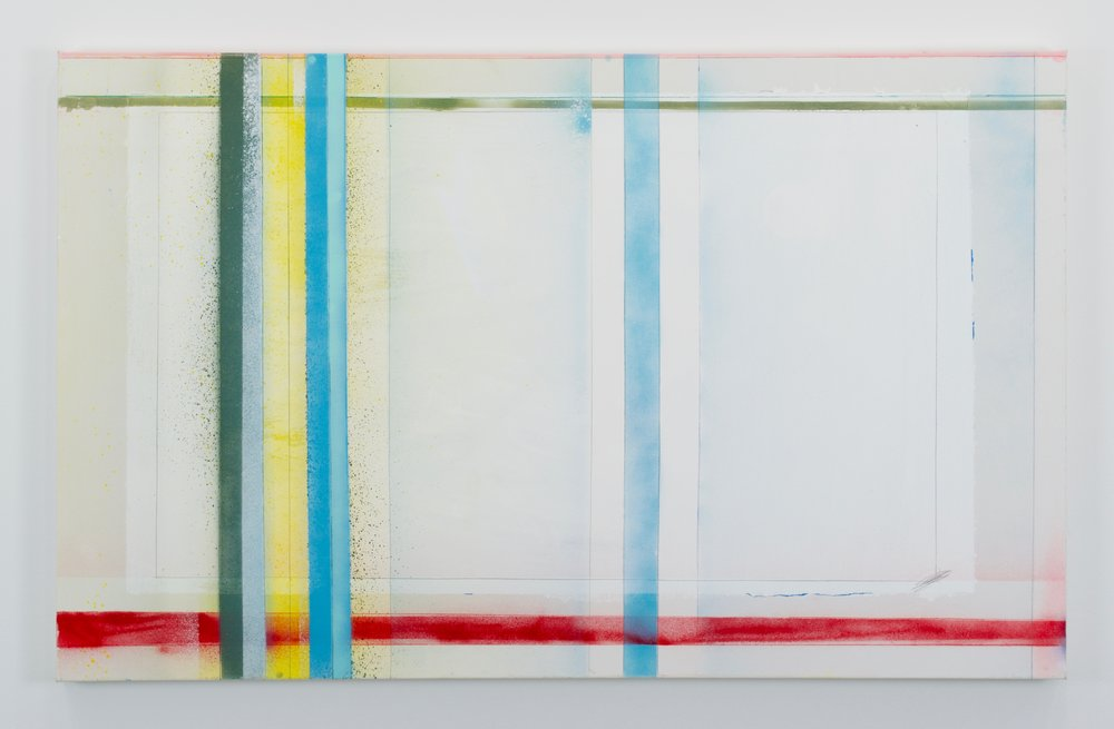 Larry Wolhandler, Thought Rhythms (DL), 2018. Oil, acrylic, pen, pencil on canvas. 30x48 in.