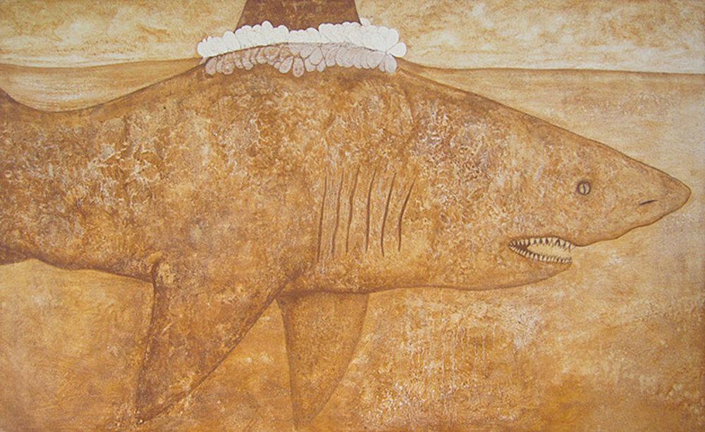 Mac James, Aloha-Ke-Na-Mano (Love for the shark), 2011. Kauai red dirt and polymer on canvas, 42x70 in.