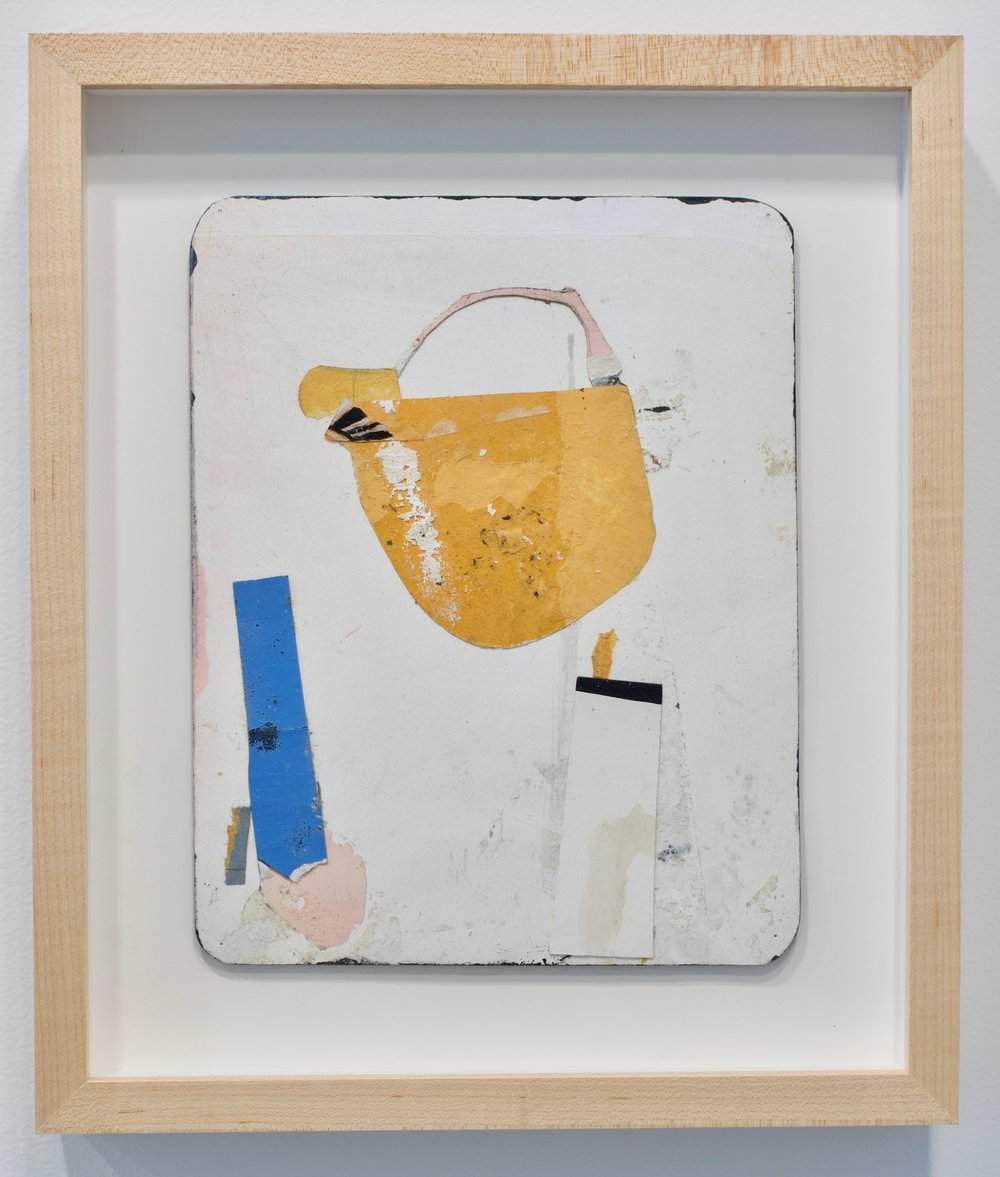 "Jeff Feld, ""Untitled"", 2015. Collage, ink, enamel, graphite on office mail envelope. 13.5x11.5 in. (framed)"