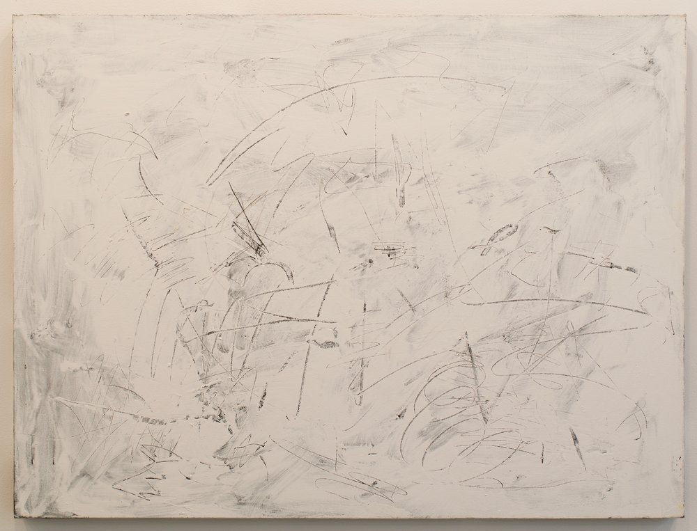 """John Perreault, """"Scratch Painting #5"""", 2014. Acrylic on canvas. 30x40 in."""