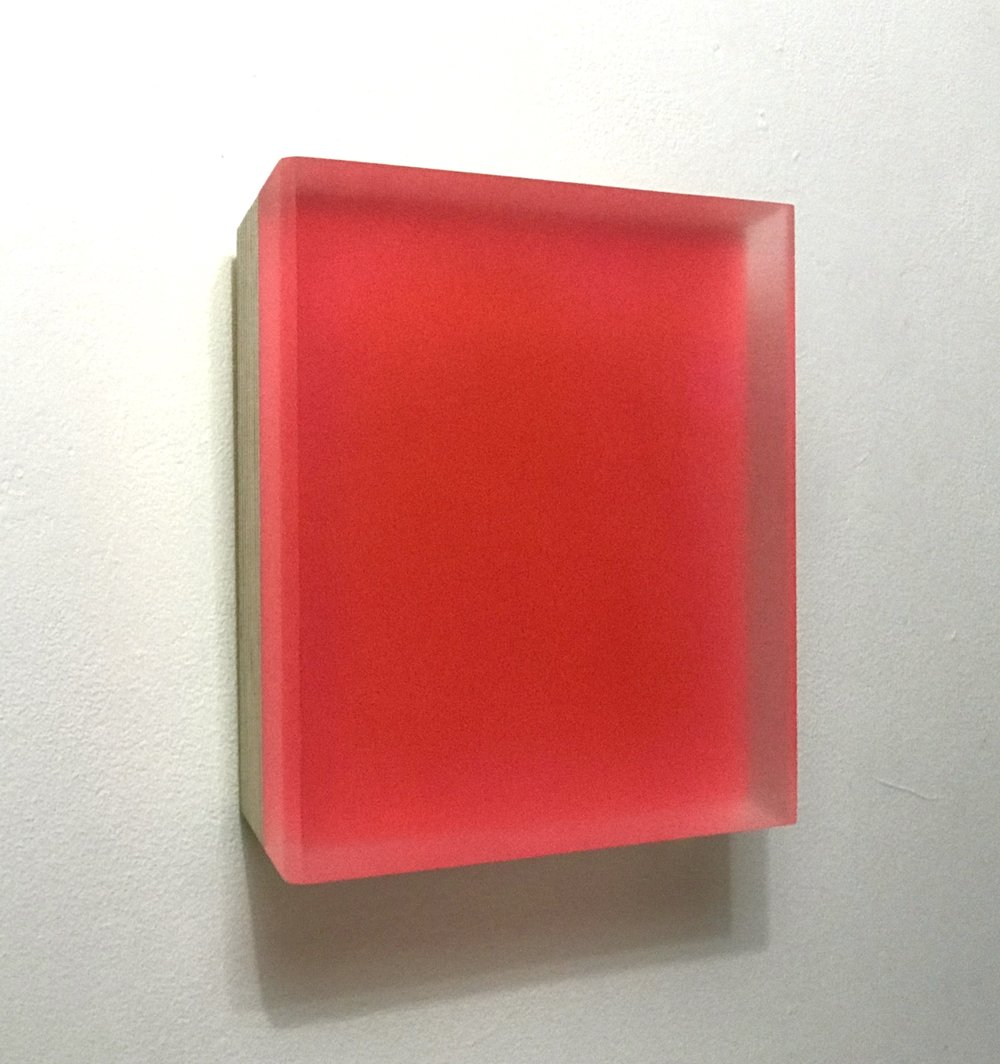 """Michelle Benoit, """"Errant Carnation; Weights and measures series, 2016. Mixed media on Lucite and appleply. 9x9 in."""