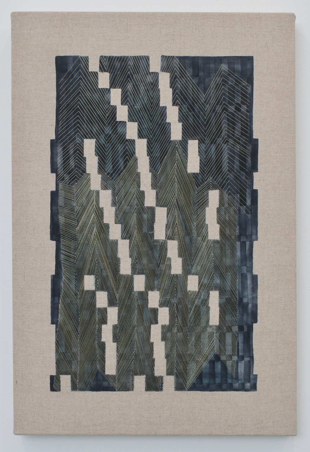 """Laura Kaufman, """"A Moment Of Confusion"""", 2018. Thread, watercolor, transfer pigment, rabbit skin glue, linen. 21x15x1.5 in."""