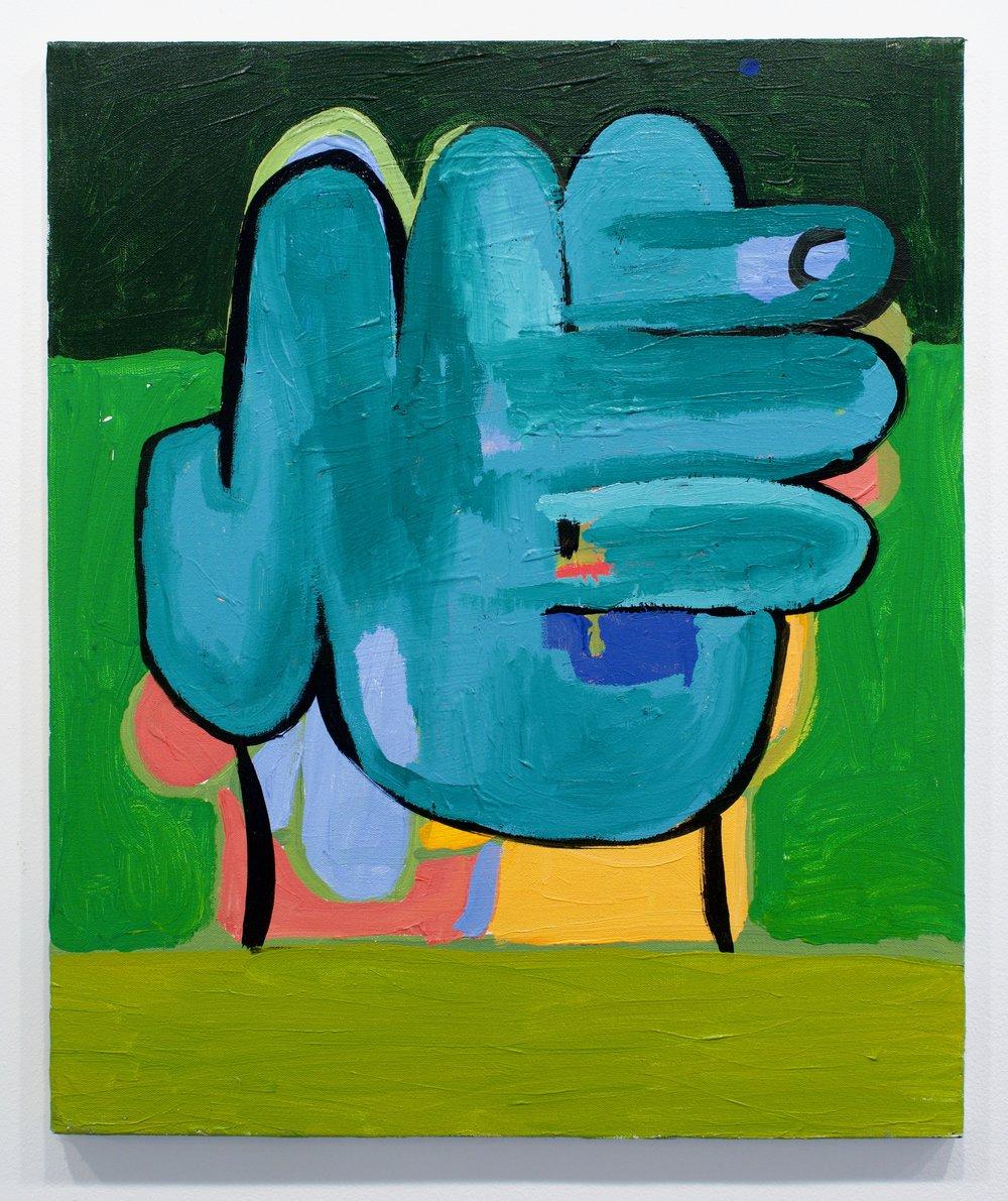 "Andrew Tarlos, ""Hand"", 2017. Acrylic on canvas. 24x20 in."