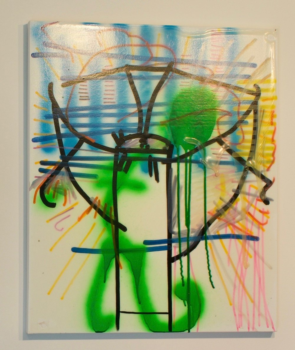 """Tim Furzer, """"The Green Man Smelled The Unmistakable Odor Of Rejection"""", 2018. Spray paint, enamel, glue on canvas. 24x20 in."""