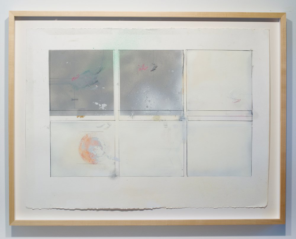 Larry Wolhandler, Untitled, 2018. Oil, acrylic, pen, pencil on paper. 26x34 in. (framed)