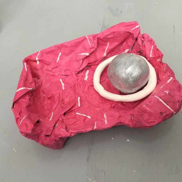 Silver Ball on a Pink Tray, 2017 Paper, acrylic and clay 8x5x3 in