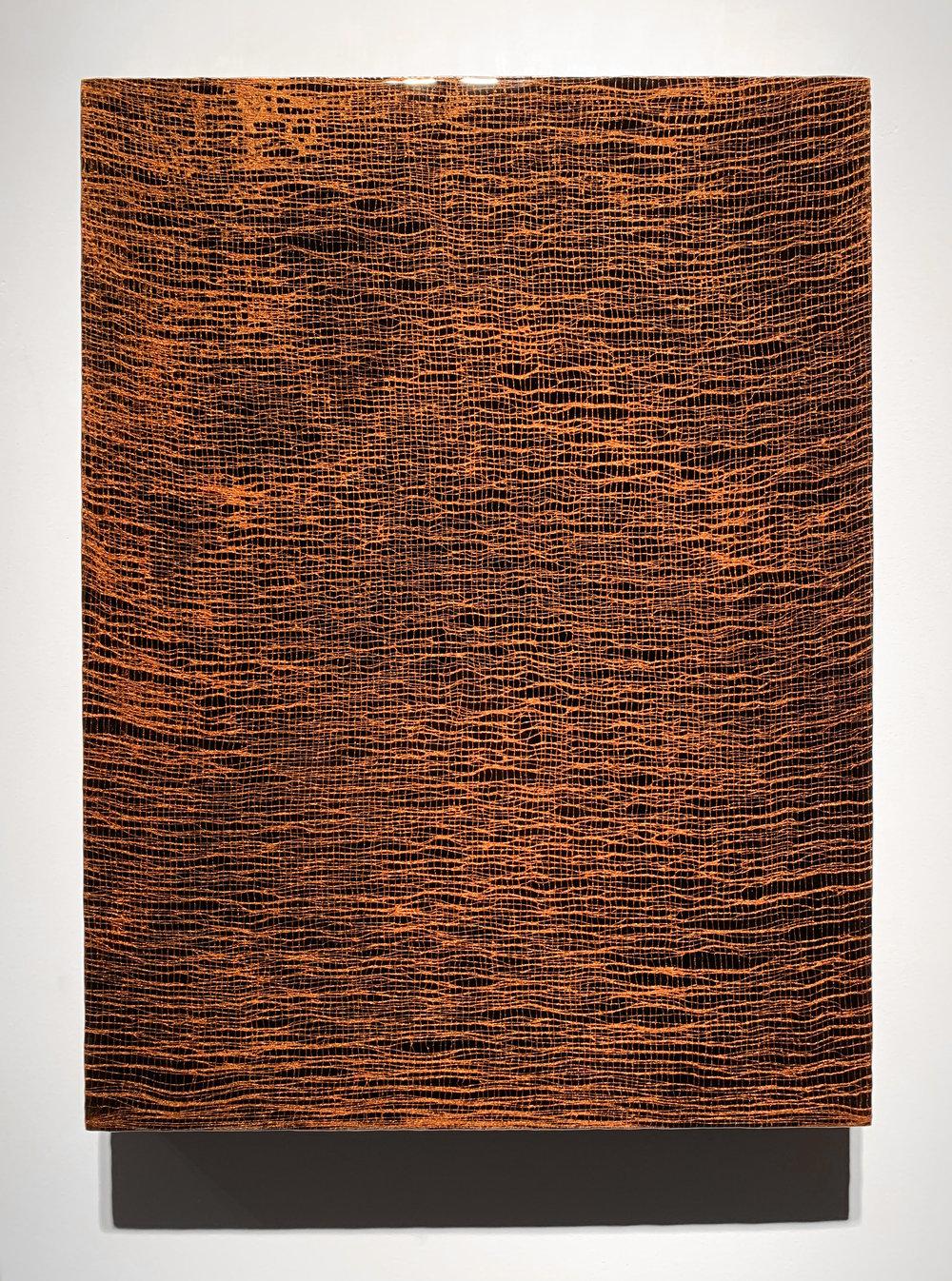 Jordan Eagles, Roze 29, 2014. Blood, copper, gauze, plexiglass, UV resin, 24x18 in