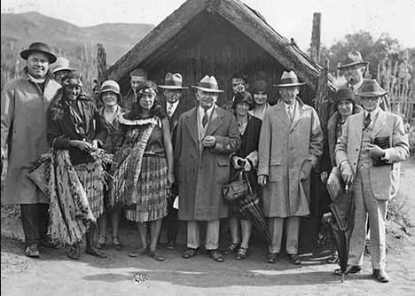 Tourists and Natives co-mingle in Whaka Village in Rotorua, NZ